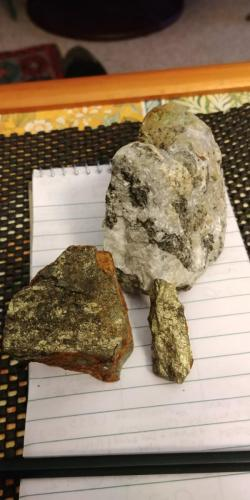 Chalcopyrite & calcite.(Blue Grouse Mine)