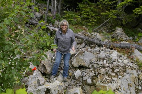 Cynthia Jones on the July 27, 2019 Mt Arrowsmith field trip.
